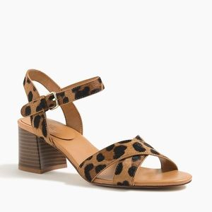 J Crew Leopard Calf Hair Block-Heel Sandals